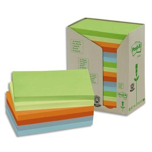 POST-IT Tour 16 blocs 100f 76x127mm 100% recyclé. Coloris assortis gris,bleu,vert clair,vert mousse