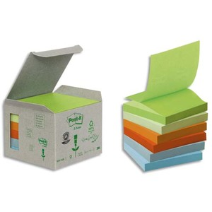 POST-IT Tour 6 blocs Znotes 100f 76X76mm 100% recyclé. Coloris vert assortis R330-1GB
